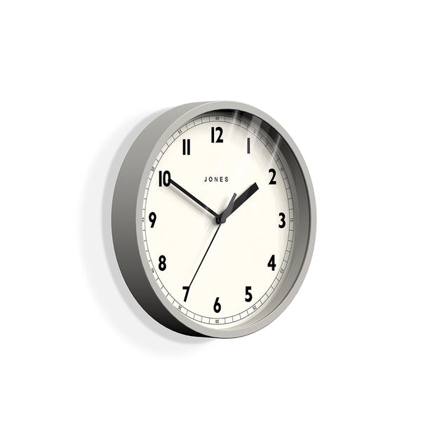 Small Grey Wall Clock - Jones Clocks Spin JSPIN628OGY - skew