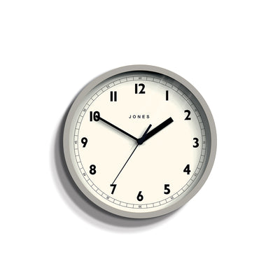 Small Grey Wall Clock - Jones Clocks Spin JSPIN628OGY - front