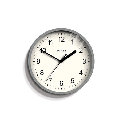 Small Grey Wall Clock Contemporary - Jones Clocks Spin JSPIN136PGY