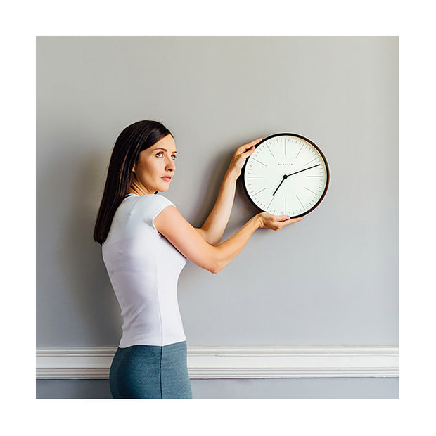 Small Minimalist Wall Clock - Modern Dark Plywood - Newgate Mr Clarke MRC160DPLY28 (lifestyle) 1 copy