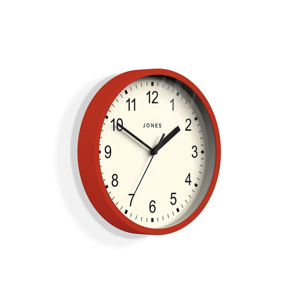 Small Red Wall Clock Contemporary - Jones Clocks Spin JSPIN136R (skew)