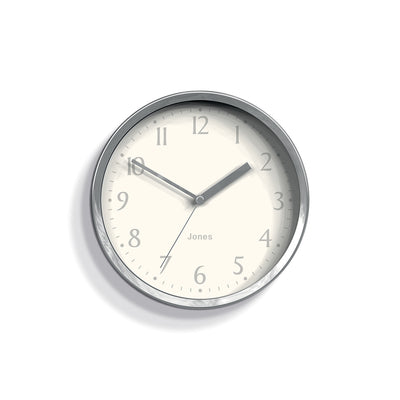 Small Silver Wall Clock Contemporary - Jones Clocks Dime JDIME581CH - front