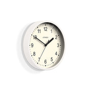 Small White Wall Clock Contemporary - Jones Clocks Spin JSPIN136PW (skew)