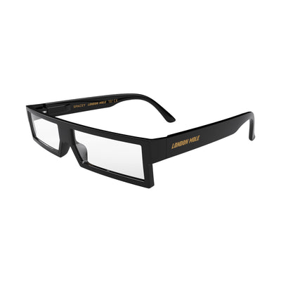 Open skew view of the London Mole Spacey Reading Glasses in Gloss Black