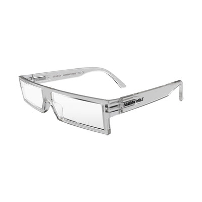 Open skew view of the London Mole Spacey Reading Glasses in Transparent
