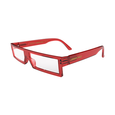 Open skew view of the London Mole Spacey Blue Blocker Glasses in Transparent Red