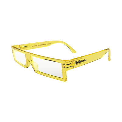 Open skew view of the London Mole Spacey Blue Blocker Glasses in Transparent Yellow