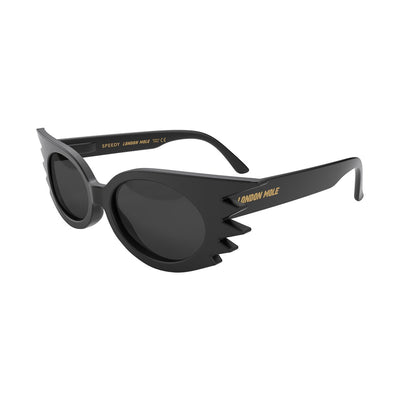 Open skew view of the black London Mole Speedy sunglasses with black lenses