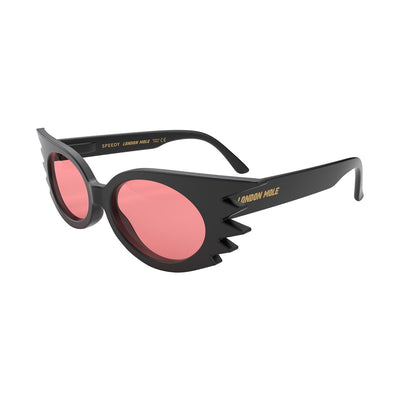 Open skew view of the black London Mole Speedy sunglasses with red lenses