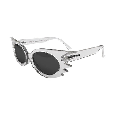 Skew open view of the London Mole Speedy sunglasses in transparent with black lenses