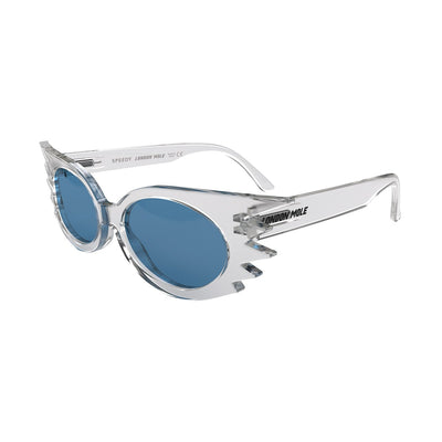 Open skew view of the transparent London Mole Speedy sunglasses with blue lenses