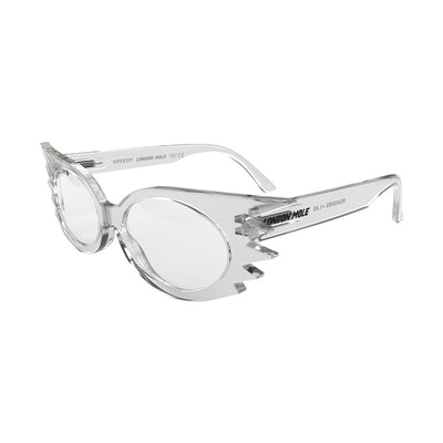 Open skew view of the transparent Speedy reading glasses by London Mole