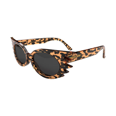 Skew open view of the London Mole Speedy sunglasses in tortoise shell with black lenses