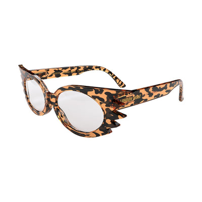 Open skew view of the Tortoise Shell London Mole Speedy Blue Blockers