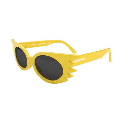 Skew open view of the London Mole Speedy sunglasses in yellow with black lenses