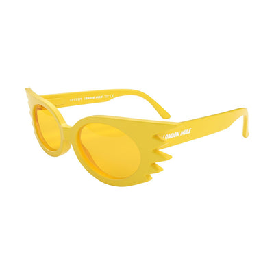 Open skew view of the yellow London Mole Speedy sunglasses with yellow lenses