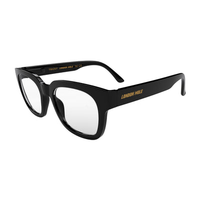 Open skew view of the London Mole Tricky Blue Blocker Glasses in Gloss Black