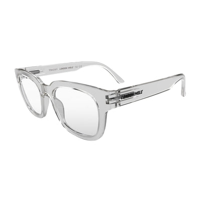 Open skew view of the London Mole Tricky Reading Glasses in Transparent