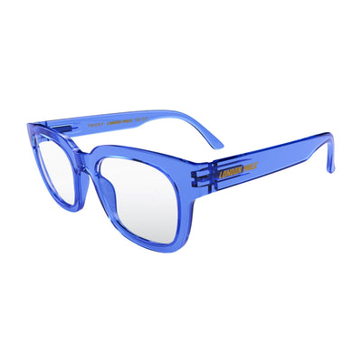 Open skew view of the London Mole Tricky Reading Glasses in Transparent Blue
