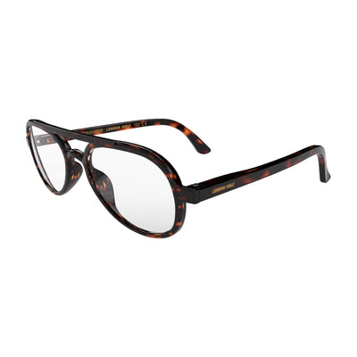 Open skew view of the London Mole Trooper Blue Blocker Glasses in Tortoise Shell