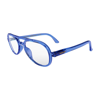 Open skew view of the London Mole Trooper Reading Glasses in Transparent Blue