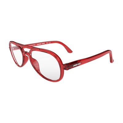 Open skew view of the London Mole Trooper Blue Blocker Glasses in Transparent Red