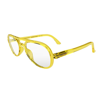 Open skew view of the London Mole Trooper Blue Blocker Glasses in Transparent Yellow