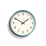 Turquoise Blue Wall Clock Modern Colourful - Jones Clocks Studio JPEN52AM - front