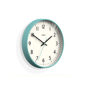 Turquoise Blue Wall Clock Modern Colourful - Jones Clocks Studio JPEN52AM - skew