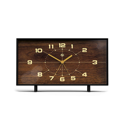 Wideboy rectangular mantel clock by Newgate with wood effect dial and soft black case