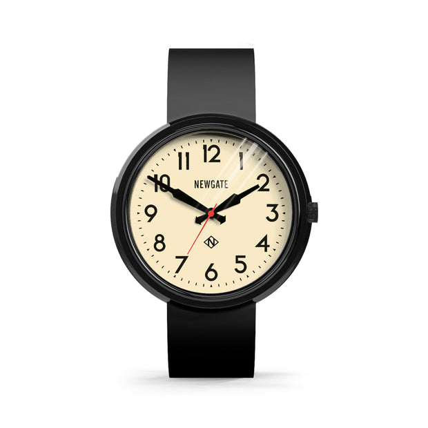 Oversized Retro Watch Black Silicone