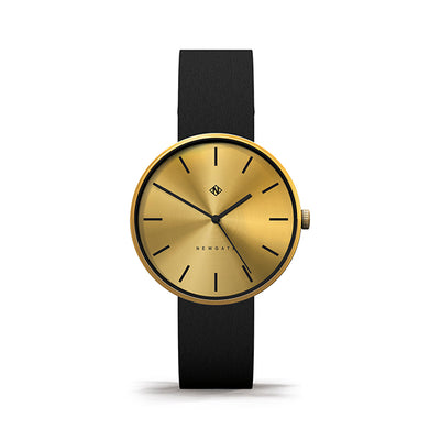 Minimalist Black Gold Watch - Modern Contemporary Men's Women's - British Design - Newgate Drumline WWMDLNRB038LK (front)