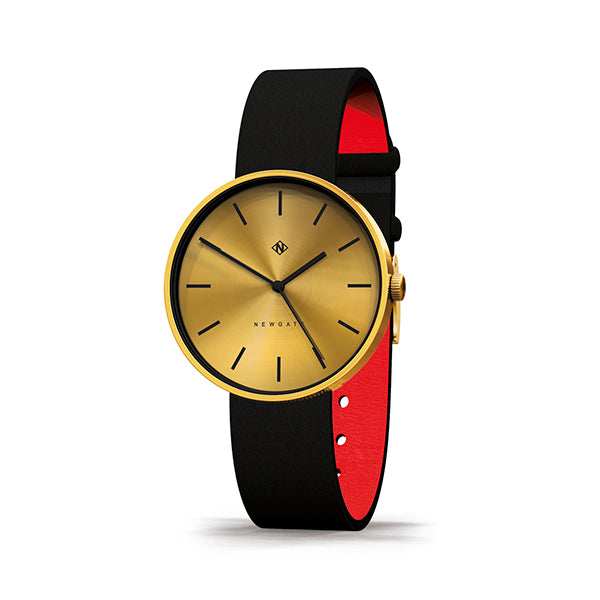 Minimalist Black Gold Watch - Modern Contemporary Men's Women's - British Design - Newgate Drumline WWMDLNRB038LK (skew)