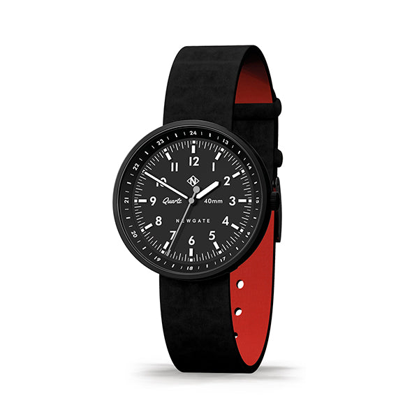Men's Black-on-Black Aviator Watch - Canvas Strap - Modern Contemporary British Design - Newgate Torpedo WWMDLNRK048LK (skew)