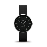 Minimalist Black & Steel Leather Watch - Modern Contemporary Men's Women's - British Design - Newgate Drumline WWMDLNRS040LK (front)