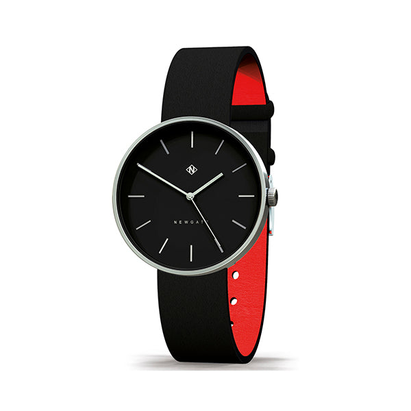 Minimalist Black & Steel Leather Watch - Modern Contemporary Men's Women's - British Design - Newgate Drumline WWMDLNRS040LK (skew)