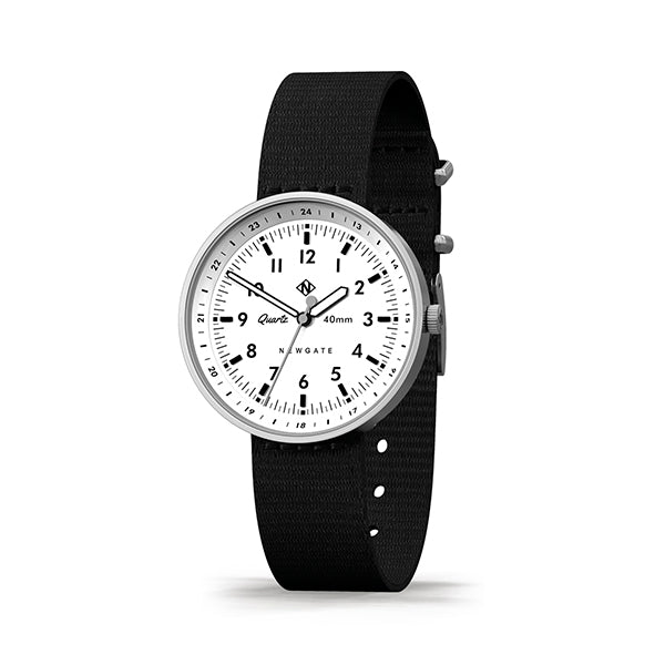 Men's Black & Steel Aviator Watch - Canvas Strap - Modern Contemporary British Design - Newgate Torpedo WWMDLNRS047CK (skew)
