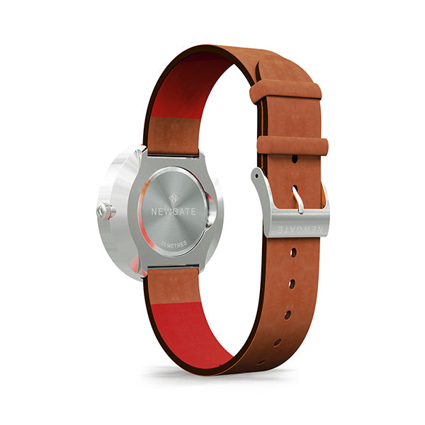 Men's Steel Aviator Watch - Tan Brown Leather - Modern Contemporary British Design - Newgate Torpedo WWMDLNRS049LT (back)