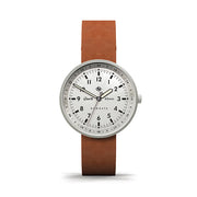 Men's Steel Aviator Watch - Tan Brown Leather - Modern Contemporary British Design - Newgate Torpedo WWMDLNRS049LT (front)