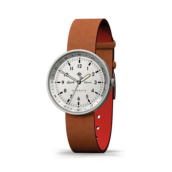 Men's Steel Aviator Watch - Tan Brown Leather - Modern Contemporary British Design - Newgate Torpedo WWMDLNRS049LT (skew)