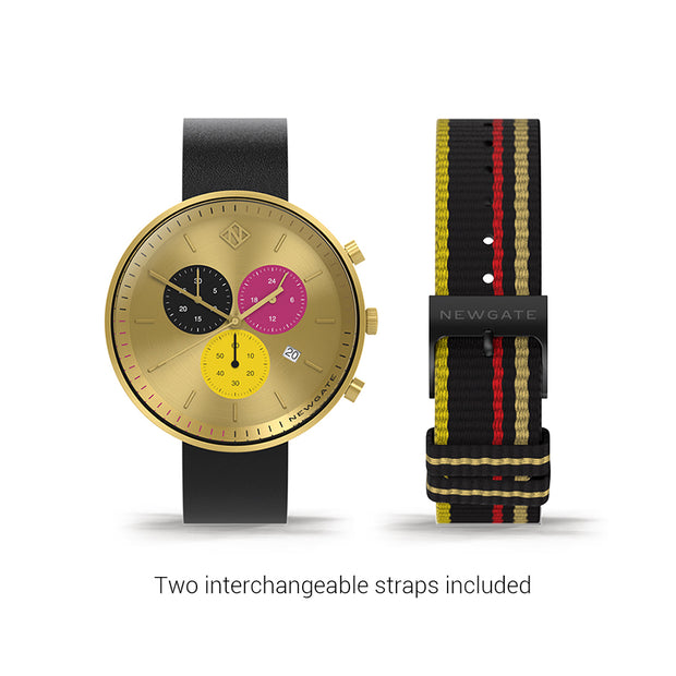 Women's Chronograph Watch – Black Leather pink Stripe – British Designed Quartz Analog - Modern Subdial - Newgate WWG6SHON - HONEY - strap
