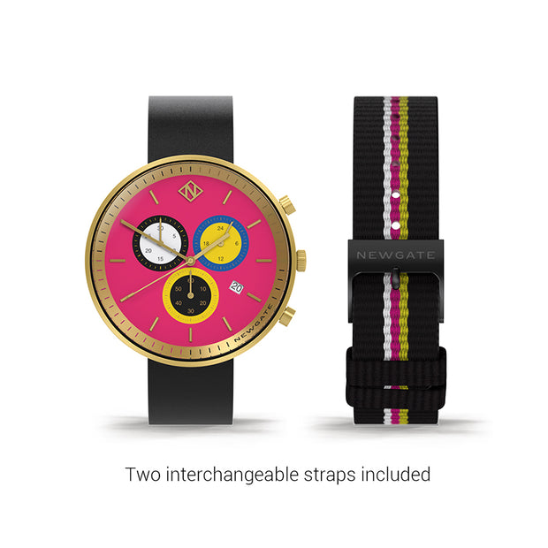 Women's Chronograph Watch – Black Leather pink Stripe – British Designed Quartz Analog - Modern Subdial - Newgate WWG6SPUS - PUSSY - strap