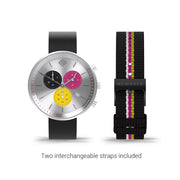 Womens Chronograph Watch – Black pink Stripe – British Designed Quartz Analog - Modern Subdial - Newgate WWG6STIG - TIGGER - strap