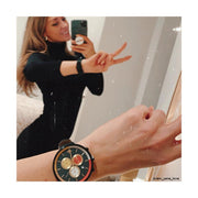 Womens Chronograph Watch – Black pink Stripe – British Designed Quartz Analog - Modern Subdial - Newgate WWG6STHU - THUMPER - influencer