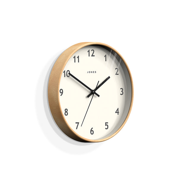 Wood-Effect Wall Clock Modern Minimal - Jones Clocks Studio JPEN105PLY - skew