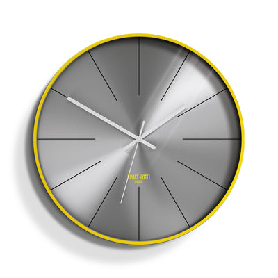 Yellow Silver Wall Clock - Modern Minimal Futuristic - Space Hotel District 12 SH-DIST-SL1-Y