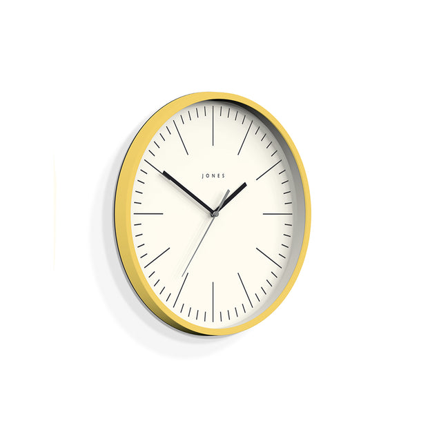 Yellow Wall Clock Modern Colourful - Jones Clocks Spartacus JSPAR102CHY - skew