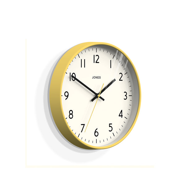 Yellow Wall Clock Modern Colourful - Jones Clocks Studio JPEN52CHY - Skew
