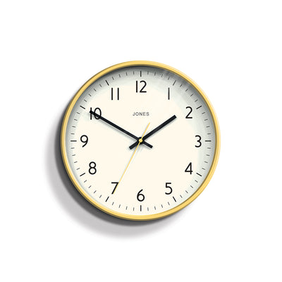 Yellow Wall Clock Modern Colourful - Jones Clocks Studio JPEN52CHY - front