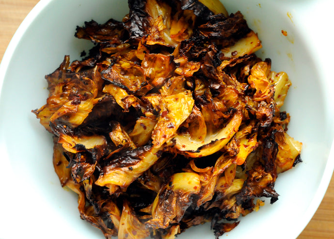 "Roasted Cabbage - Post no. 1  - in the ""How to Use Hot Mama Salsa Chili Oil"" series."